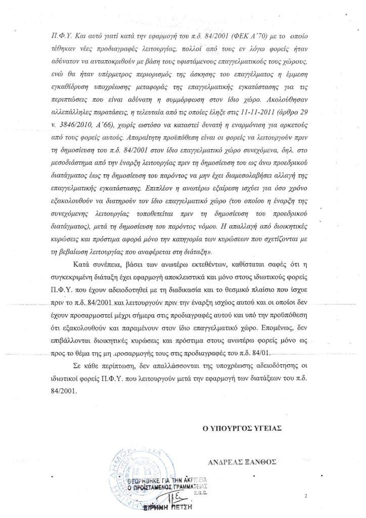 Υπουργείο Υγείας - Διευκρινήσεις επί της παρ. 9 του άρθρου 85 του Ν 4472_2017 (Ιατρεία προ του ΠΔ 84_2001)2